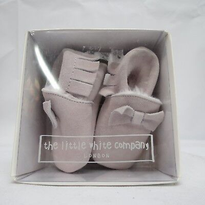 White Company Pink Fringed Suede Pram Shoes - 0-3 Months - New In Box.