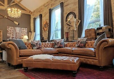 Chesterfield tan brown hide leather Corner Suite 6 / 7  Seater sofa British made