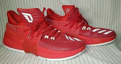 big sale d3ed9 c7ceb Adidas Damian Lillard Dame 3 Red White BY3192 Basketball Shoes Size 9