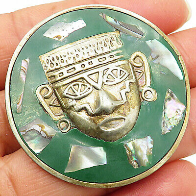 Vintage Carved Brass Sun Face Brooch Pin Original Mexico 925 Silver Bp2069 Reasonable Price