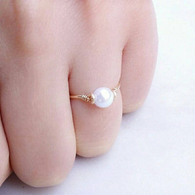 Exquisite Rose Gold Plated Huge Pearl Ring Bride Proposal Wedding Women Size6-10