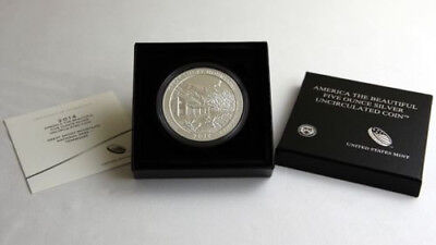 2014 America the Beautiful  Great Sand Dunes ATB 5 Oz Silver Coin with Box & COA