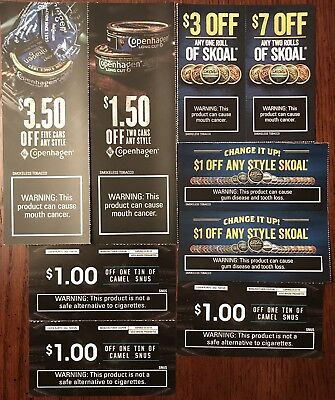 9 Skoal, Copenhagen, & Camel Smokeless Tobacco Coupons $20.00 Total Savings