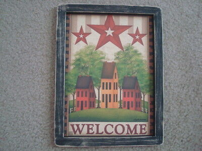 "Primitive Country Print **WELCOME with 3-SALT BOX HOUSES** black frame 9"" x 12"""