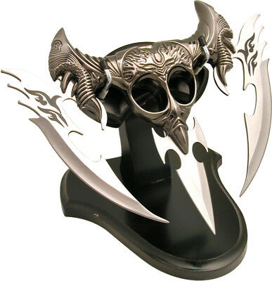 "FANTASY DRAGON DAGGER 10"" 3-Blades Pewter-Like Metal Black-Wood Stand NEW in BOX"