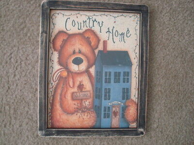 "Primitive Country Print *COUNTRY HOME*  black frame 9 1/2"" x 11 1/2"" FREE SHIP!"