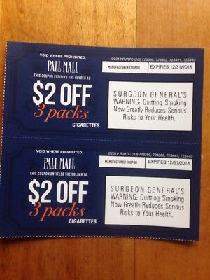 Pall Mall cigarette coupons, $4.00 VALUE, Exp 12/31/2018 HURRY