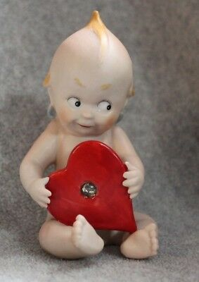 Vintage Ardalt Lenwile China Sitting Kewpie Piano Baby With Jeweled Red Heart