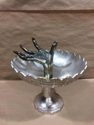 Silver and Gold Toned Metal Pedestal Spiderweb Bowl with Arm/Hand Halloween