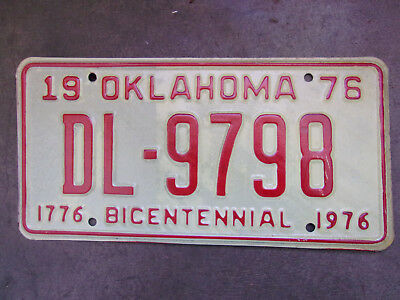NOS Vintage Old License Plate Sign Oklahoma 1976 Red Bicentennial Tag Man Cave