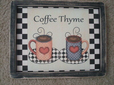 "Primitive Country Print *COFFEE THYME* in black frame 9 1/2"" x 12"" FREE SHIP!!"