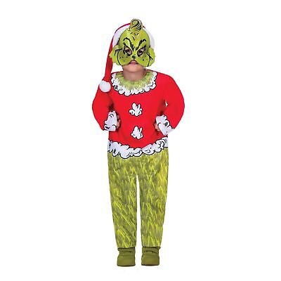 Girls Boys Grinch Movie Fancy Dress Costume Dr Suess Christmas Day Outfit Kids