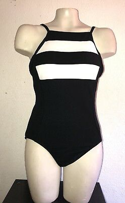 NWOT Vintage Mainstream swimsuit size 10 union made USA black white one piece