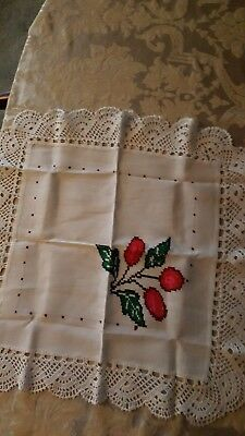 "VINTAGE TABLE square topper LIQUID EMBROIDERY 22""x22""  crocheted lace trim"