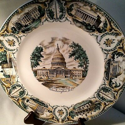 Vintage Capitol Washington D.C. Souvenir Plate Imperial Service Salem China Co