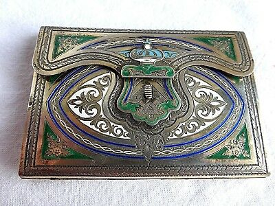 Fine Antique Victorian French Aide Memoire Card Case Sterling Silver Enamel