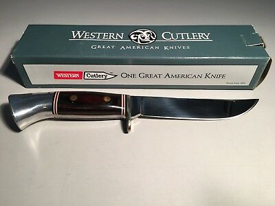 Western Cutlery USA Hunting Fixed Knife Rosewood Handle