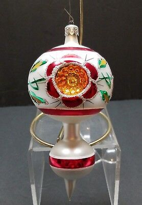 """Vintage Mercury Glass Poland Christmas Ornament Indent Triple Finial Ball 7"""" Red"""