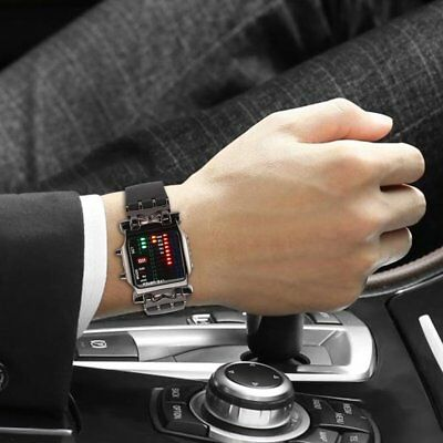 New Unisex Square Style Cool Colorful LED Digital Watch Binary Wrist Black ND