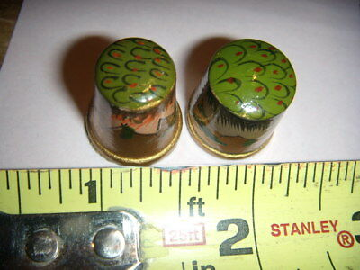 2 Vintage WOOD THIMBLE  Hand Painted  REAL NICE