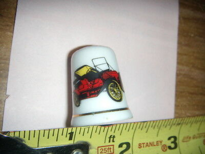 Vintage THIMBLE  Hand Painted PORCELAIN ANTIQUE CAR