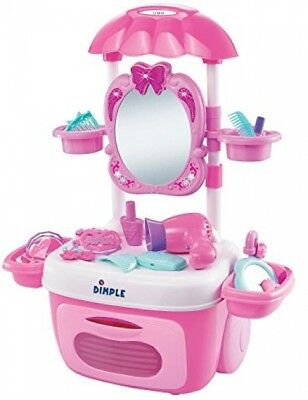 Pink Vanity Set for Girls Dimple Princess Table Toy Table Pretend New Years 2019