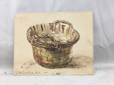 Great Orig. signed c1850 E.W. Cooke Watercolor Painting Study of Basket #2
