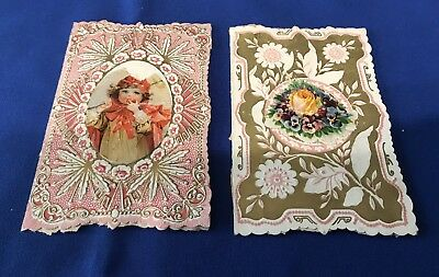 2 Antique Valentines Day Cards 1800'S