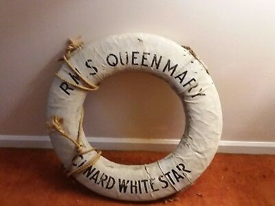 Authentic R.M.S. Queen Mary Cunnard Life Star Life Ring/Life Preserver/Bouy