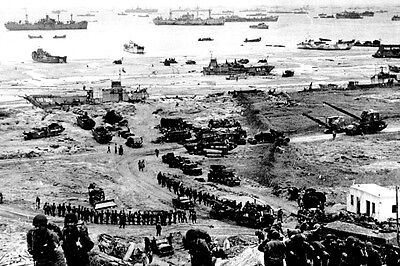 New 5x7 World War II Photo: Build-up of Omaha Beach after Normandy, D-Day