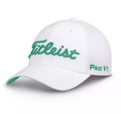 NWT Titleist Tour Sport Mesh Fitted Hat Cap white-mint *Moisture Wicking Fabric*