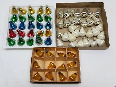 Vintage Mercury Glass Bell Christmas Feather Tree Ornaments Lot Gold Silver Blue
