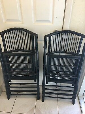 Pair of Vintage Mid-century bamboo folding chairs rattan wicker chippendale