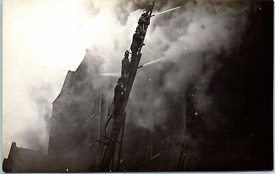 RPPC Antique Real Photo Postcard Firefighters on Escape Ladder, Firefighting