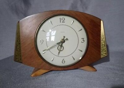 Vintage/retro mantel clock wood engraved brass inlay 70's Smith's working