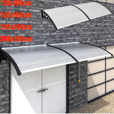 120/150/240/300x100cm Door Canopy Rain Cover Outdoor Shade Awning Shelter Black
