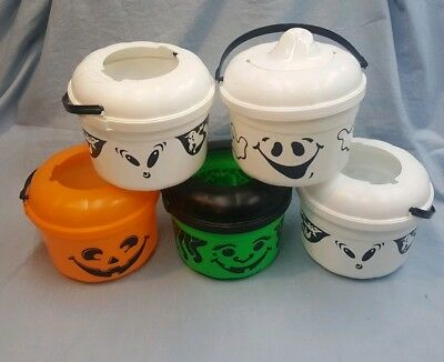Vintage 5 McDonalds Halloween Trick Treat Candy Pails Buckets