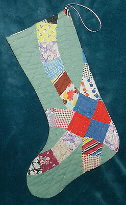 Awesome Green Wedding Ring Antique Vintage Cutter Quilt Christmas Stocking