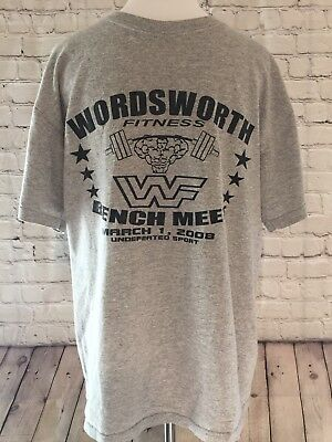 Wordsworth Fitness Men M Shirt WWF Weight Lifter No Pain No Gain Vtg Gray Black