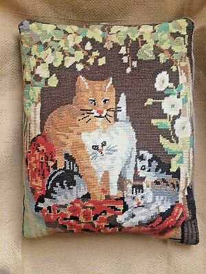 Vintage Wool Needlepoint Embroidered Cat Cushion Cover