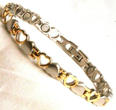 Ladies Bio Magnetic Bracelet With Gold Hearts Design (SB31)