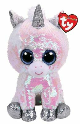 TY Beanie Boos Diamond the Unicorn with Reversible Sequins and Red Heart Tag