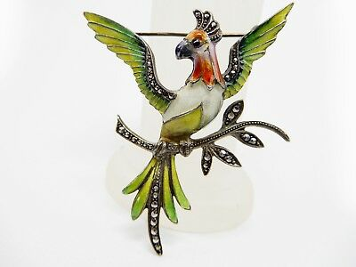 Vintage Bird Lovers Parrot Brooch Pin Large 2""