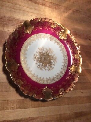 Antique GDA Limoges Hand Painted Cabinet Plate Gold & Red