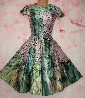 TED BAKER 'Dixee Glitch' Satin Blossom Evening Dress 14 (Ted Size 4)  Exquisite!