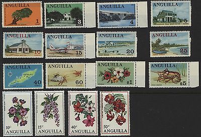 Anguilla Assorted Stamps  1967- 1971 including birds, flowers, ships and marine