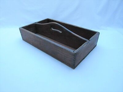 Vintage old wooden cutlery open caddy box garden trug