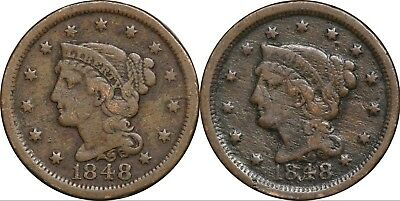 Lot of (2) 1848 Braided Hair Large Cents 1c, Fine Details