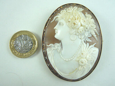 Superb Large Antique Shell Cameo 9Ct Gold Frame.