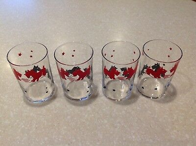 Vintage juice glasses 4 with black and red Scottie dogs